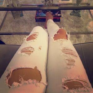 Stretchy White Distressed Denim Jeans